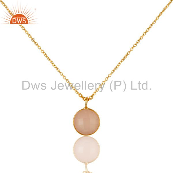 Dyed Chalcedony Round Cut Chain Pendant Necklace With 18K Yellow Gold Plated