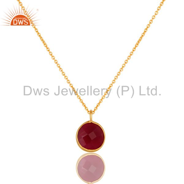 18K Yellow Gold Plated Faceted Pink Chalcedony Bezel Set Pendant Necklace