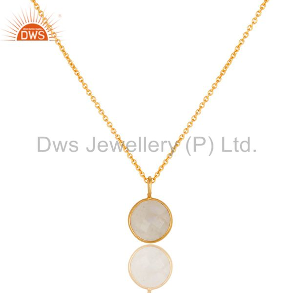 Faceted Rainbow Moonstone Pendant With Chain In 18K Yellow Gold Over Brass