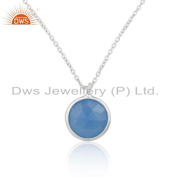 Blue chalcedony gemstone 925 sterling silver chain pendant wholesaler india