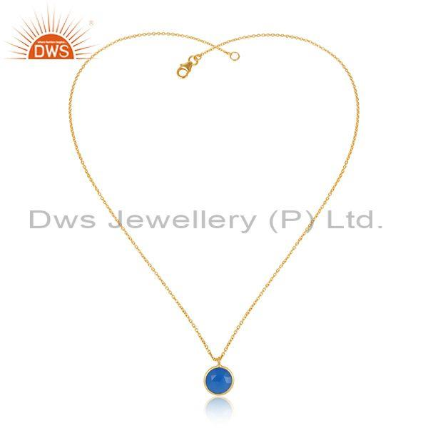 Handmade Gold on Silver 925 Blue Chalcedony Charm Necklace
