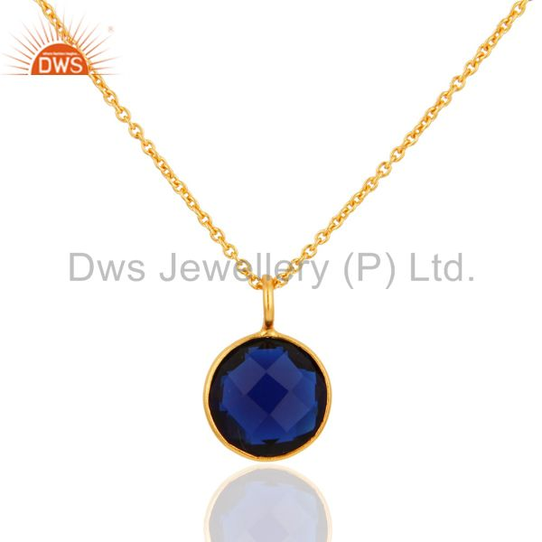 18K Yellow Gold Plated Sterling Silver Blue Corundum Bezel Set Pendant
