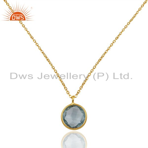Blue Topaz Gold Plated 925 Silver Chain Gemstone Pendant Wholesale