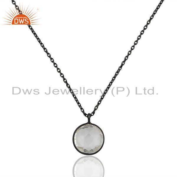 Black Rhodium Plated 925 Silver Crystal Pendant manufacturers
