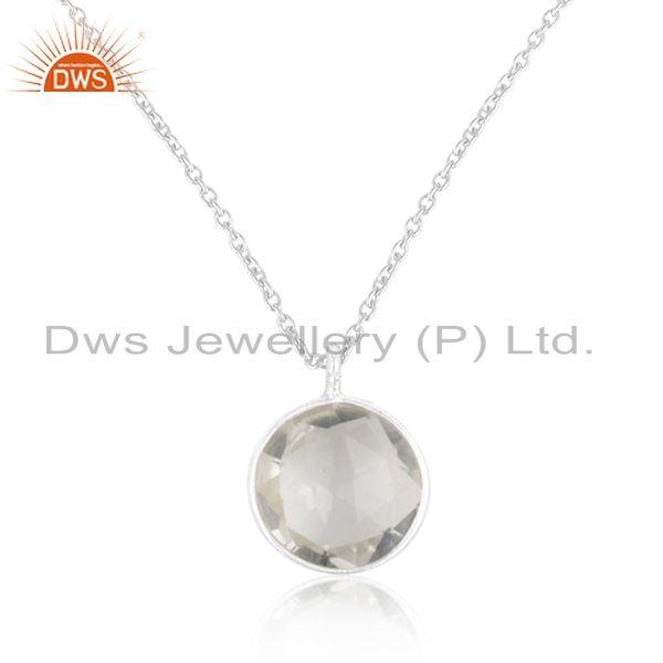 Genuine crystal quartz 925 sterling fine silver chain pendant manufacturer
