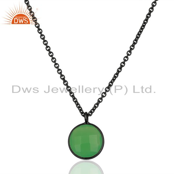 Green Chalcedony Bezel Set 925 Sterling Silver Black Rhodium Round Chain Pendant