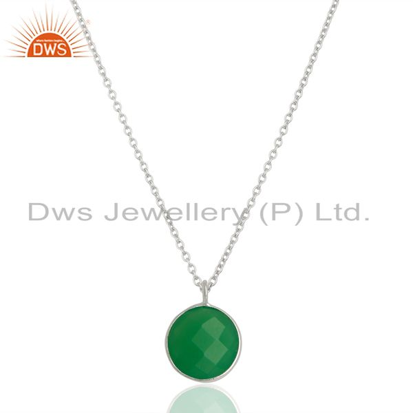 Green Chalcedony Bezel Set 925 Sterling Silver Chain Pendant Gemstone Jewellery