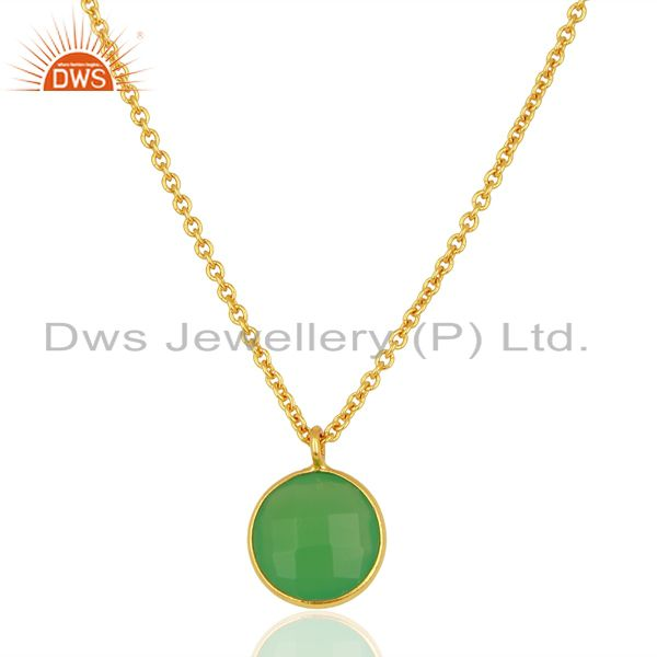 Green Chalcedony Bezel Set 925 Sterling Silver 18K Gold Plated Chain Pendant