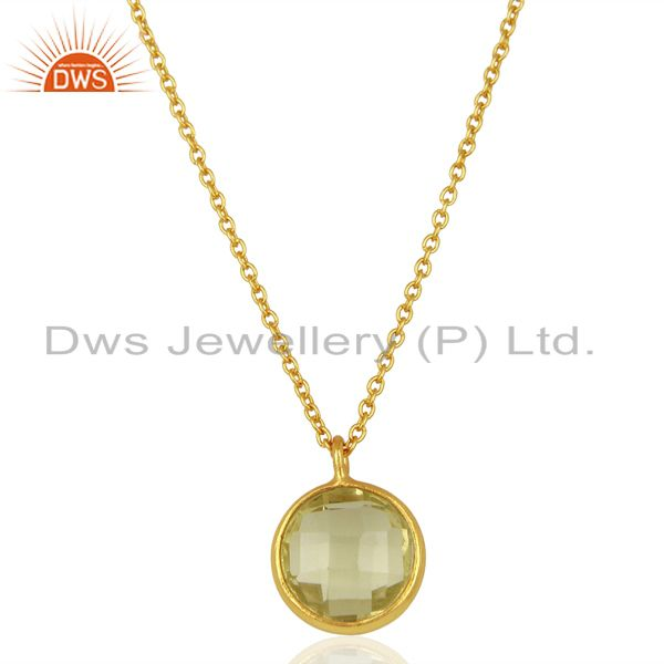 Lemon topaz gemstone gold plated silver chain pendnat manufacturer