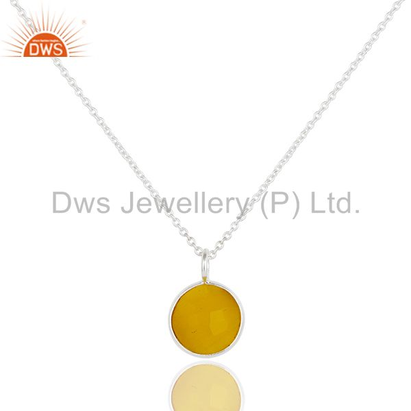 Solid sterling silver yellow moonstone gemstone bezel set chain pendant necklace