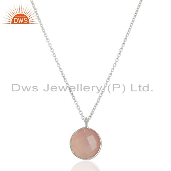 Rose Chalcedony Bezel Set Sterling Silver Pendant Semi-precious Stones Jewellery