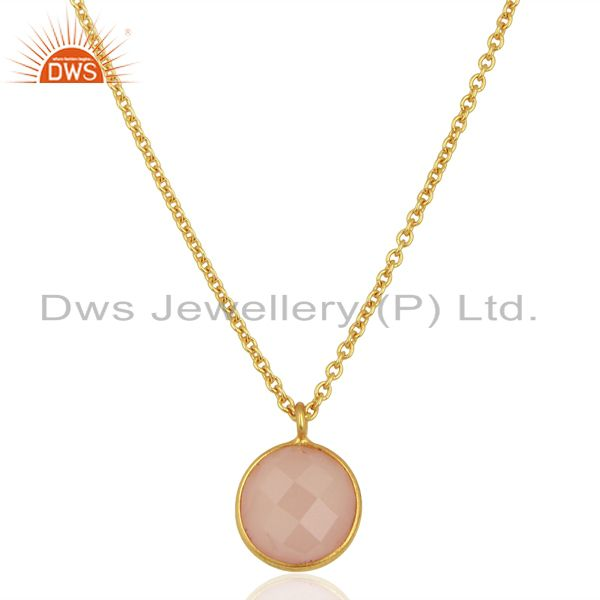 Rose Chalcedony Round Bezel Set Sterling Silver 18K Gold Plated Chain Pendant