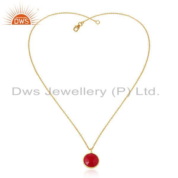 Pink chalcedony gemstone 18k yellow gold plated silver chain pendant