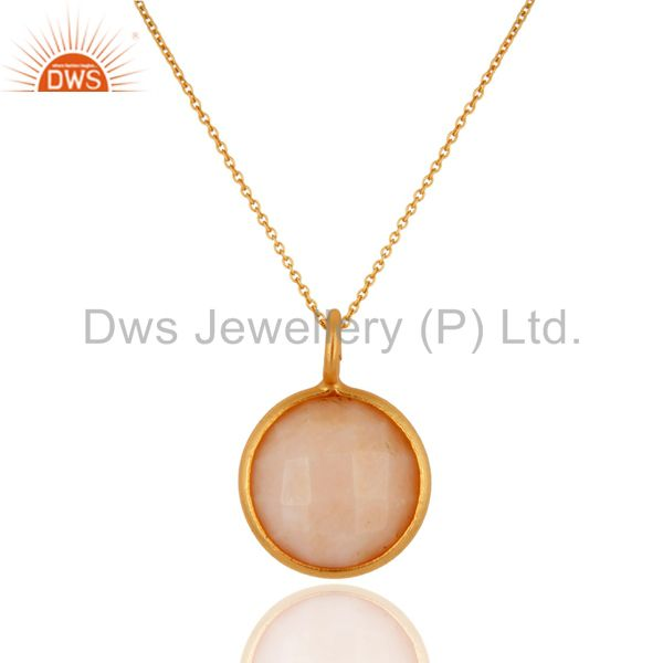 18K Yellow Gold Plated Sterling Silver Pink Opal Bezel Set Pendant With Chain