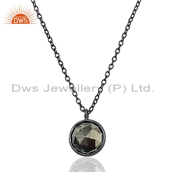 Black Rhodium Plated Silver Pyrite Gemstone Womens Chain Necklace