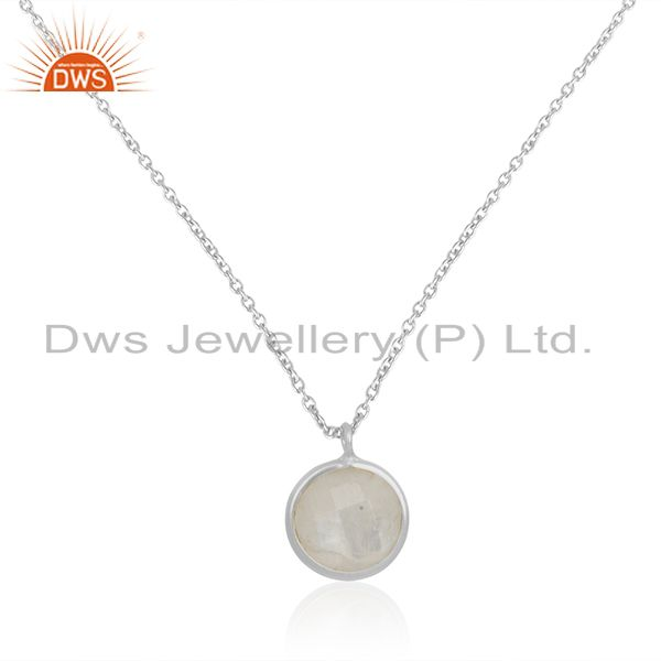 Natural rainbow moonstone fine sterling silver chain pendant wholesale