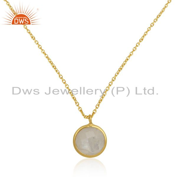 Gold plated 925 silver natural rainbow moonstone chain pendant manufacturer