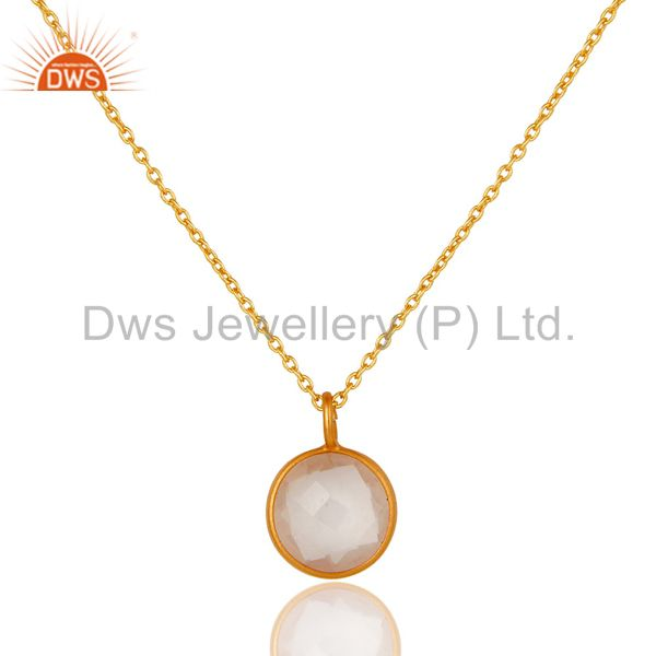 Rose Quartz 14K Yellow Gold Plated 925 Sterling Silver Chain Pendant Jewelry