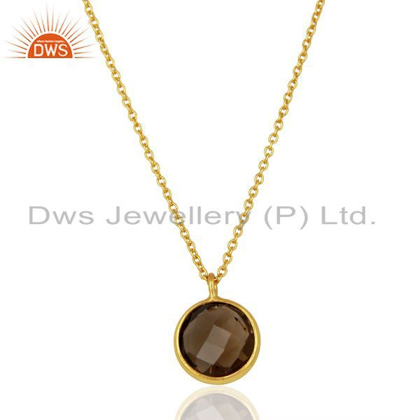 14K Yellow Gold Plated 925 Sterling Silver Smokey Topaz Bezel Set Chain Pendant