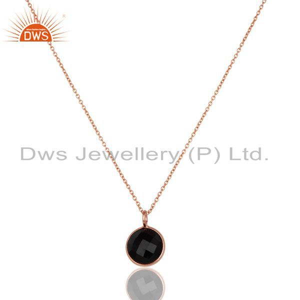 14k rose gold plated 925 sterling silver black onyx bezel set chain pendant