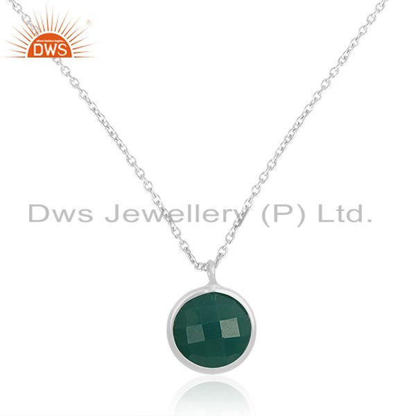 Handmade 92.5 Sterling Silver Green Onyx Gemstone Pendant With Chain Wholesale