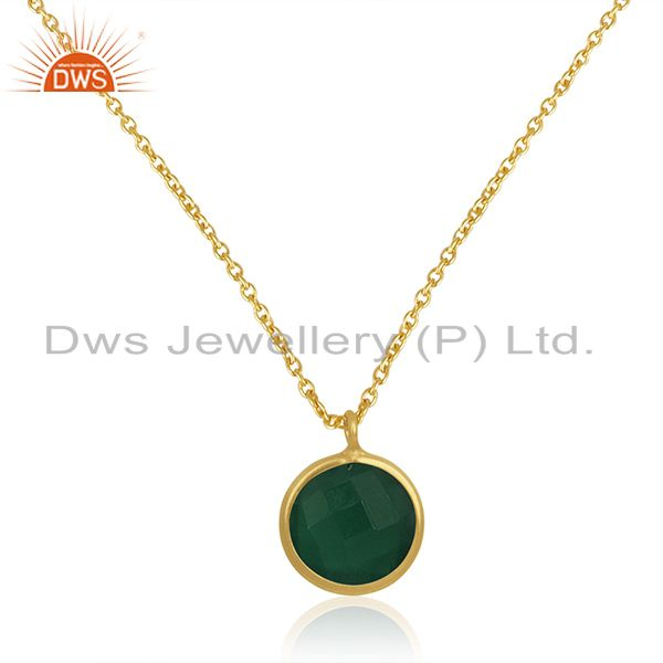 14k gold plated sterling silver chain green onyx gemstone pendant manufacturer