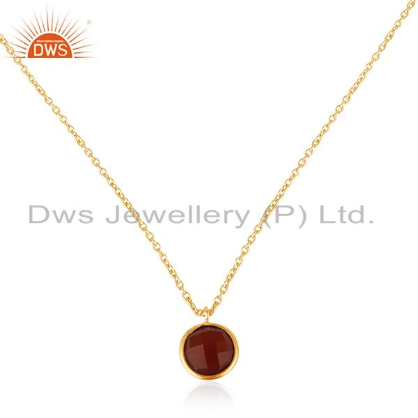 Red onyx gemstone 925 silver handmade gold plated girls pendant jewelry