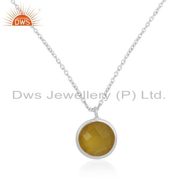 Yellow chalcedony gemstone fine 925 silver chain pendant manufacturer india