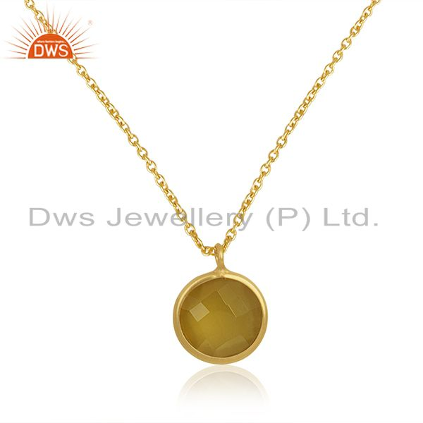 Yellow Chalcedony Gemstone 925 Silver Gold Plated Chain Pendant Wholesale