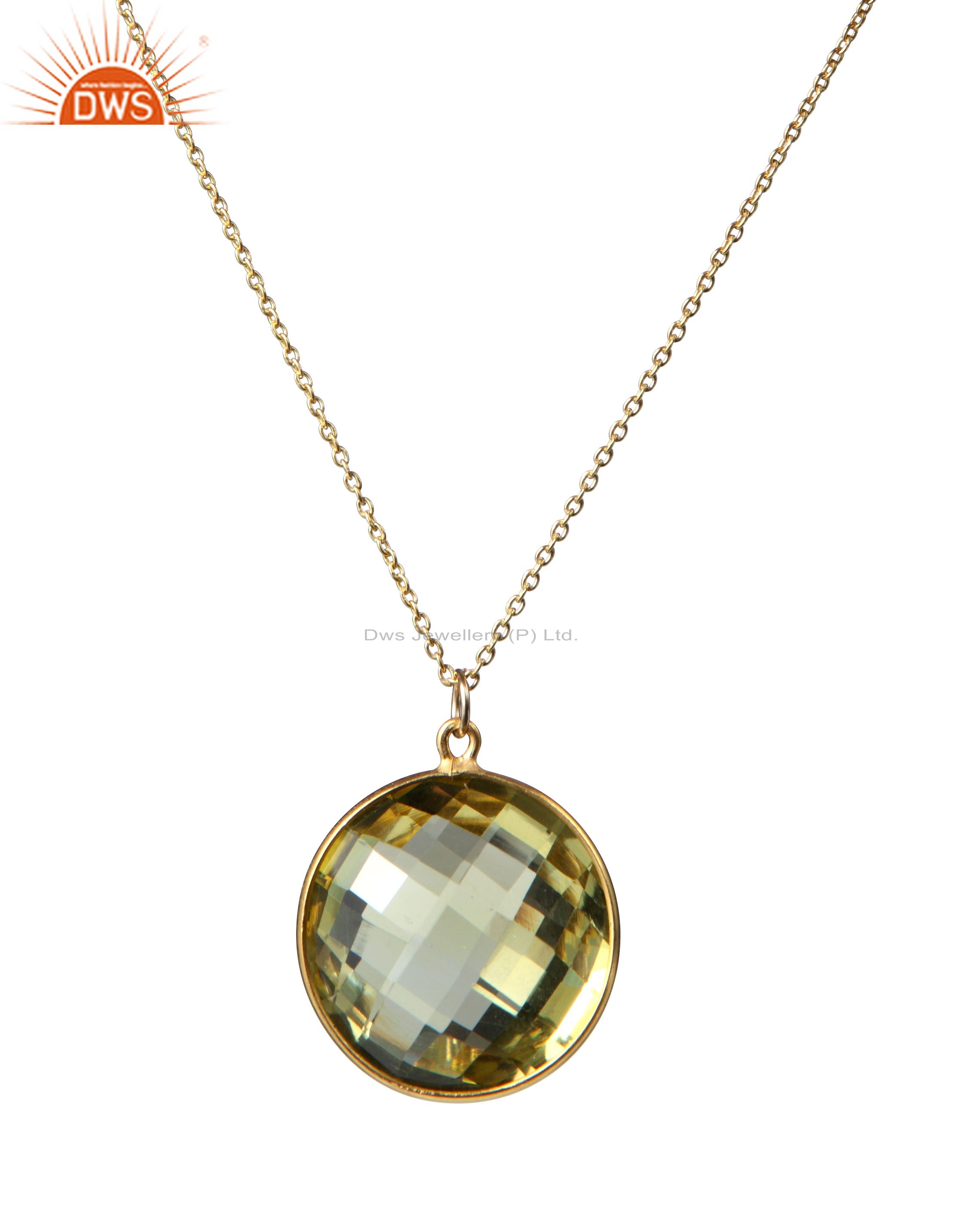 14K Yellow Gold Plated Sterling Silver Lemon Topaz Bezel Set Pendant With Chain