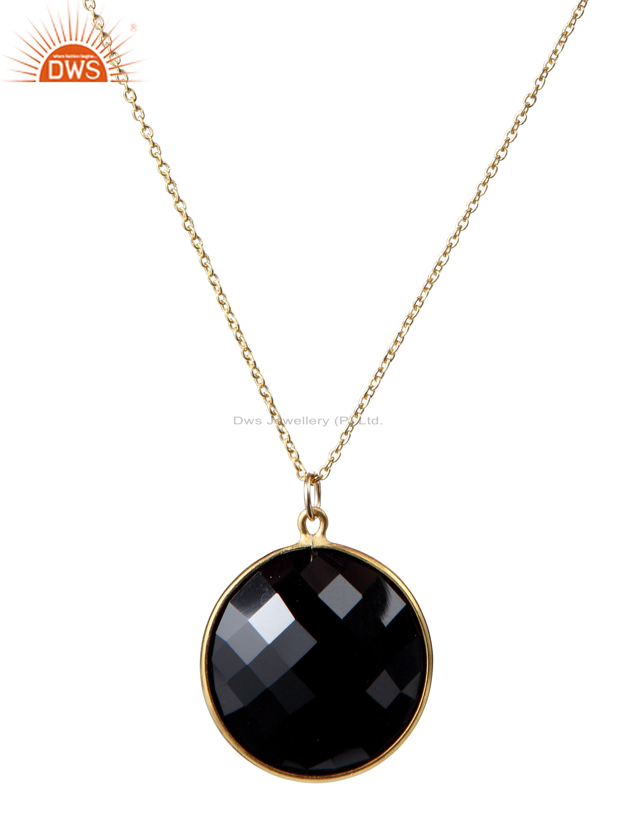 22K Yellow Gold Plated Sterling Silver Black Onyx Bezel Set Pendant With Chain