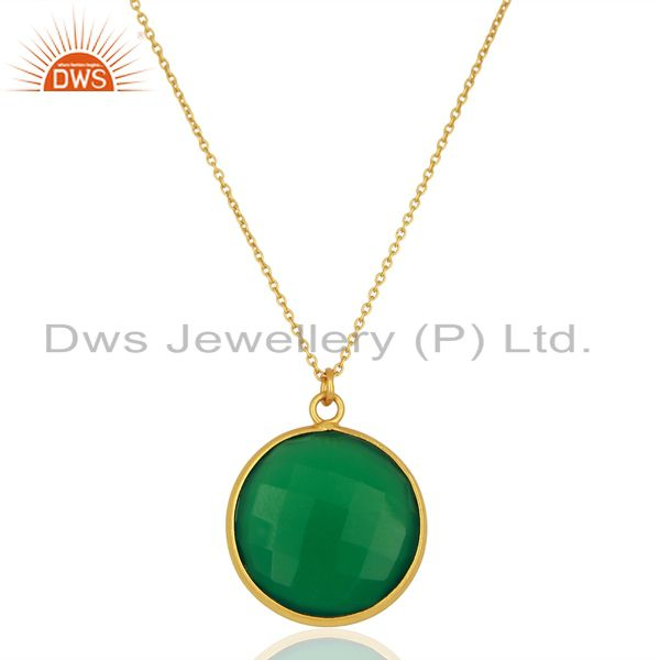 18k yellow gold plated sterling silver green onyx bezel set pendant with chain