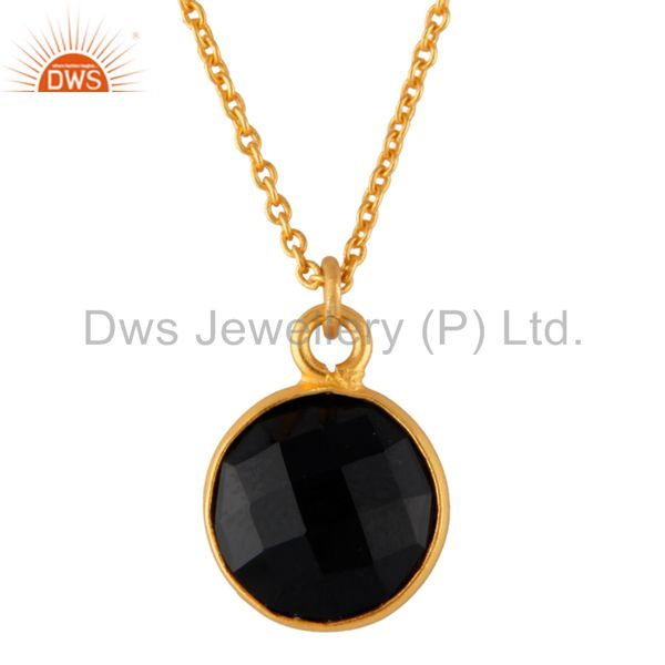 """18K Gold Plated Black Onyx Bezel Set Brass Pendant With 16"""" In Chain"""