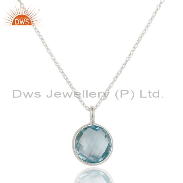 925 Sterling Silver Blue Topaz Gemstone Bezel Set Pendant With Chain Necklace