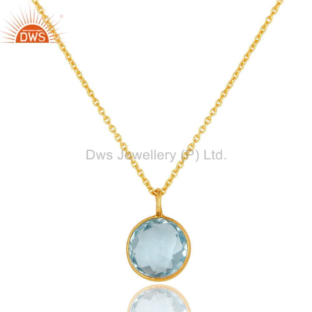 14k yellow gold plated sterling silver blue topaz bezel set pendant with chain