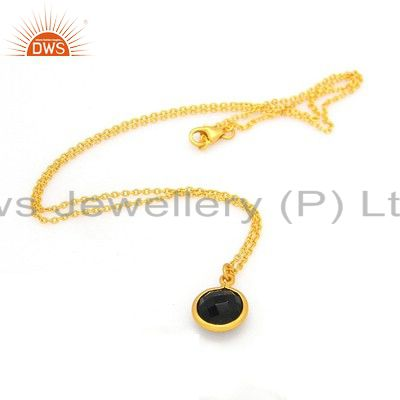 18K Yellow Gold Plated Sterling Silver Smoky Quartz Bezel Set Pendant With Chain