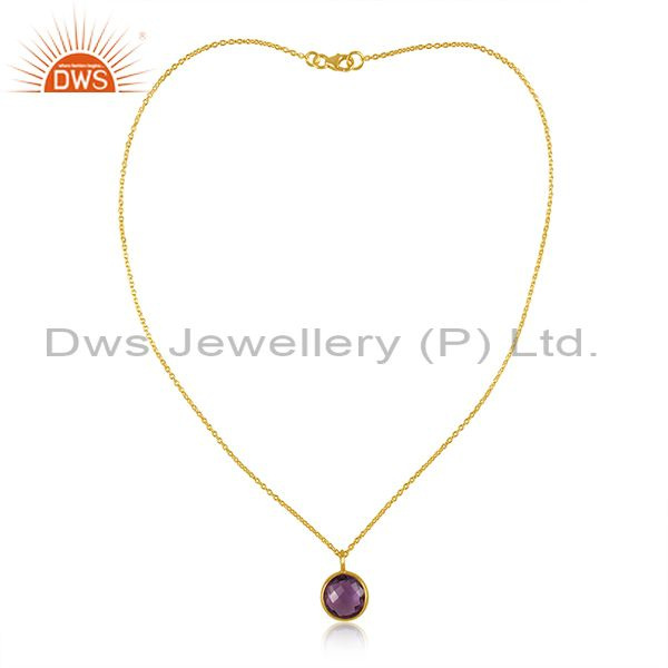 14K Gold Plated 925 Sterling Silver Round Amethyst Bezel Set Chain Pendant