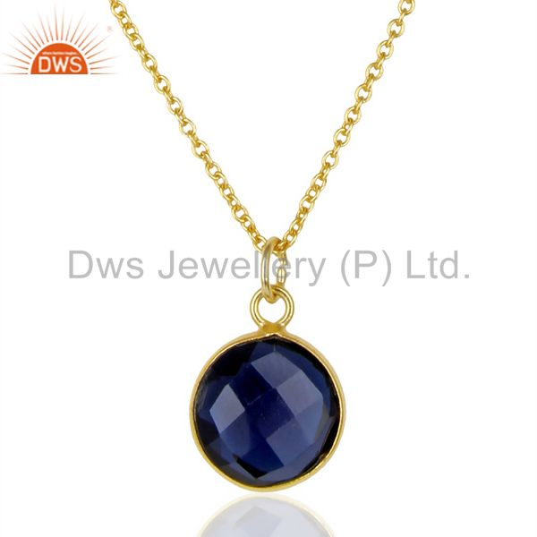 14K Gold Plated 925 Sterling Silver Blue Corrundum Bezel Set Chain Pendant