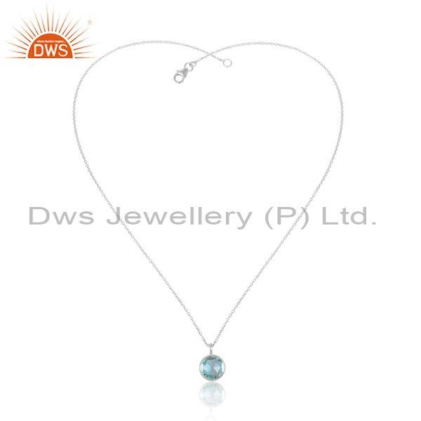 Blue topaz set classy fine sterling silver pendant and chain