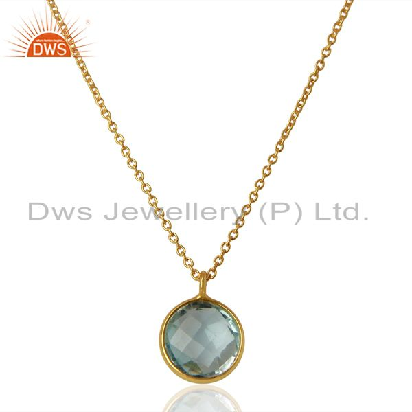 Gold Plated Blue Topaz Gemstone Gold Plated Silver Pendant Jewelry