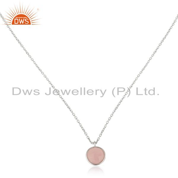 925 Sterling Silver Rose Chalcedony Gemstone Bezel Set Pendant With Chain