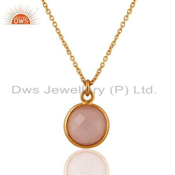 18K Gold Plated Sterling Silver Rose Chalcedony Bezel Set Pendant With Chain