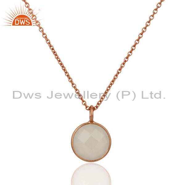 18K Rose Gold Plated Sterling Silver White Chalcedony Bezel Pendant With Chain