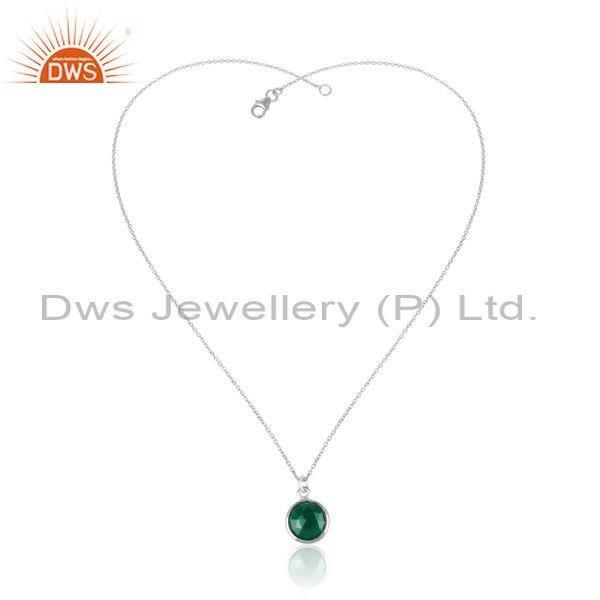 Green chalcedony pendant and 925 silver statement necklace