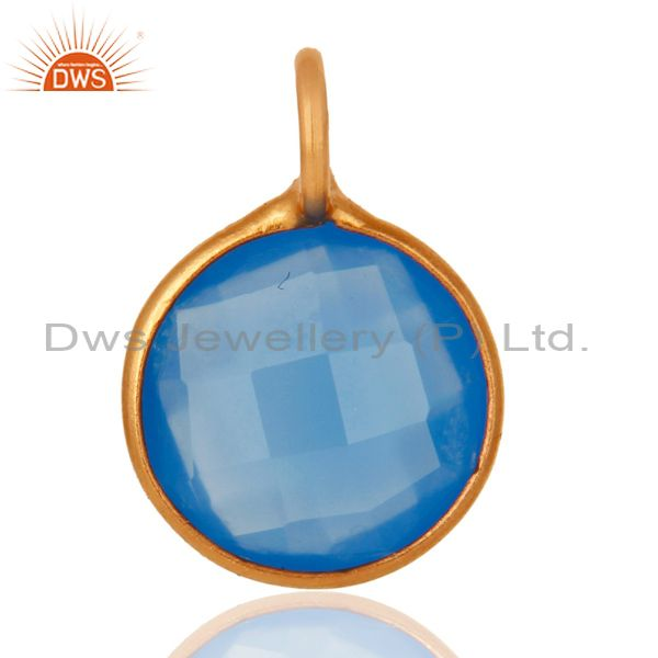 18K Yellow Gold Plated Sterling Silver Blue Chalcedony Bezel Set Pendant