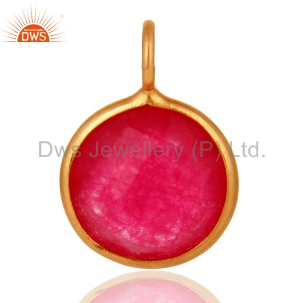 18k yellow gold plated sterling silver red aventurine bezel set pendant