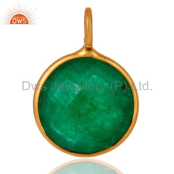 Natural Green Aventurine Gemstone Pendant In 18K Gold Over Sterling Silver