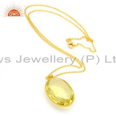 22K Yellow Gold Plated Sterling Silver Lemon Topaz Bezel Set Pendant With Chain