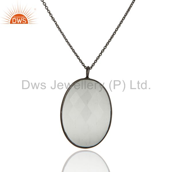 Faceted White Moonstone Bezel Set Pendant With Chain In Oxidized Sterling Silver