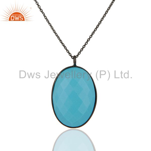 Black rhodium plated sterling silver dyed turquoise bezel set pendant with chain